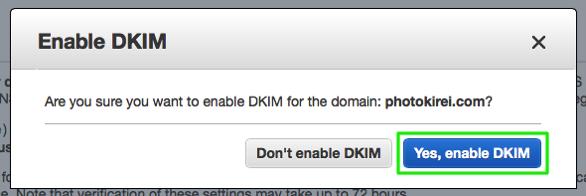 SES enable DKIM