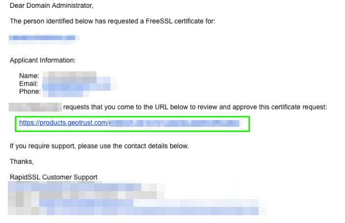 Rapid SSL 承認 メール