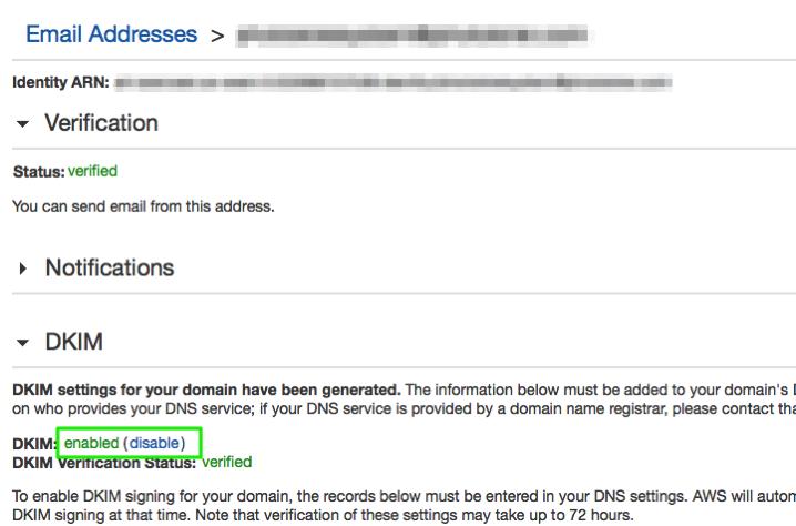 DKIM 認証E-mailでenableに設定