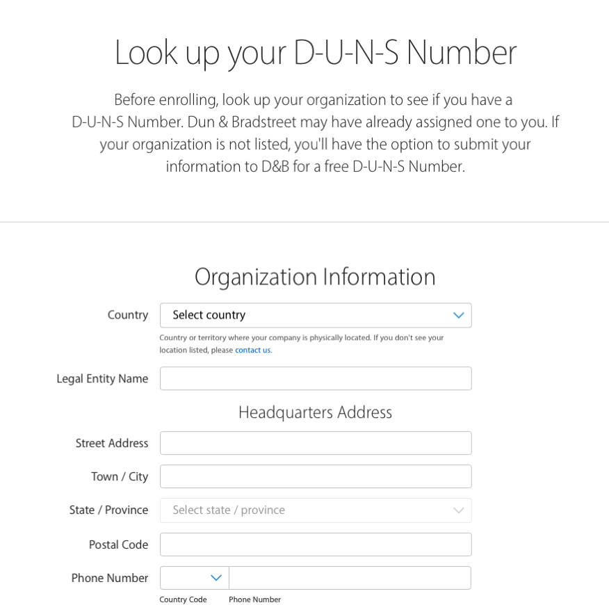 Look UP DUNS Number Apple